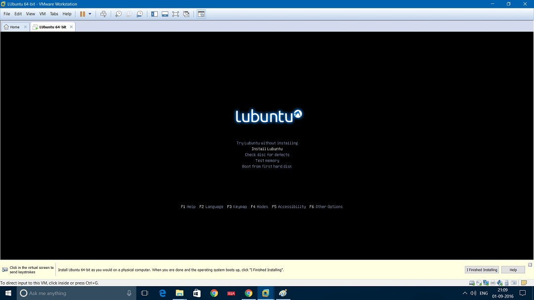 VMware workstation - Install Lubuntu screenshot