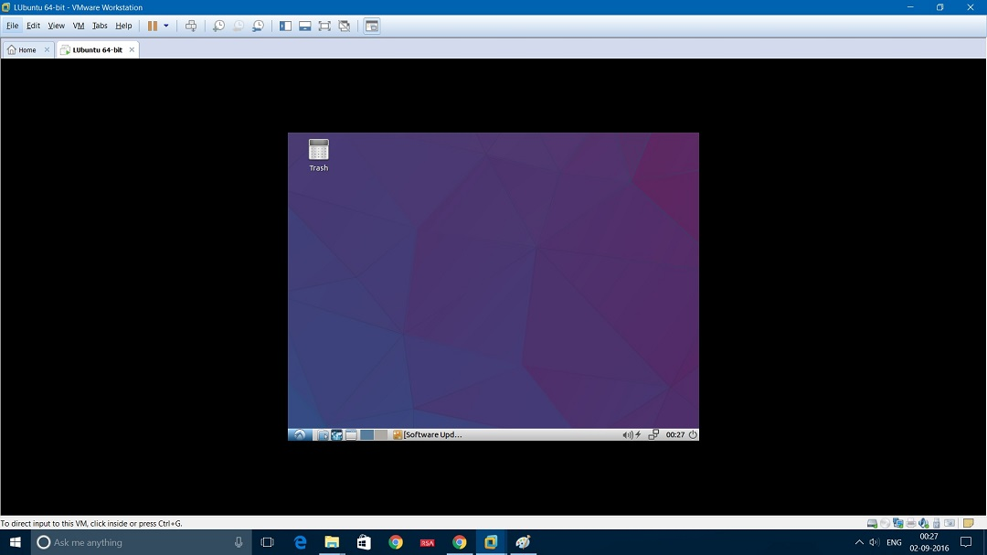 VMware Workstation - Lubuntu desktop screenshot