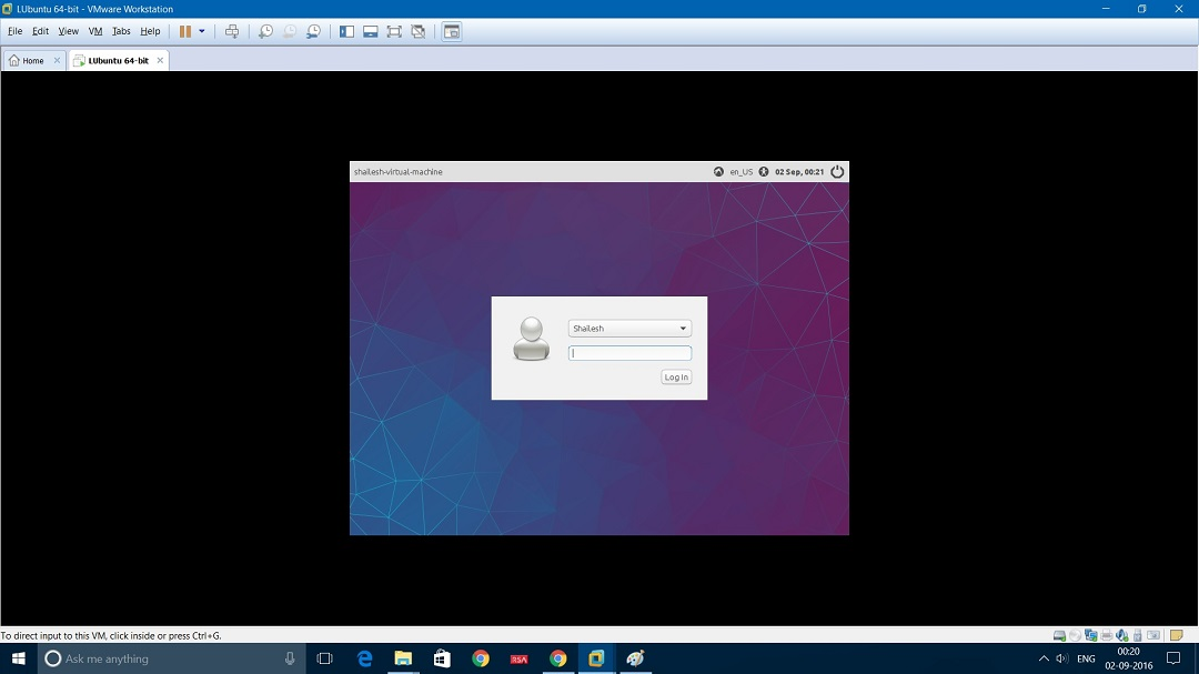 VMware Workstation Installing Lubuntu - Login screenshot