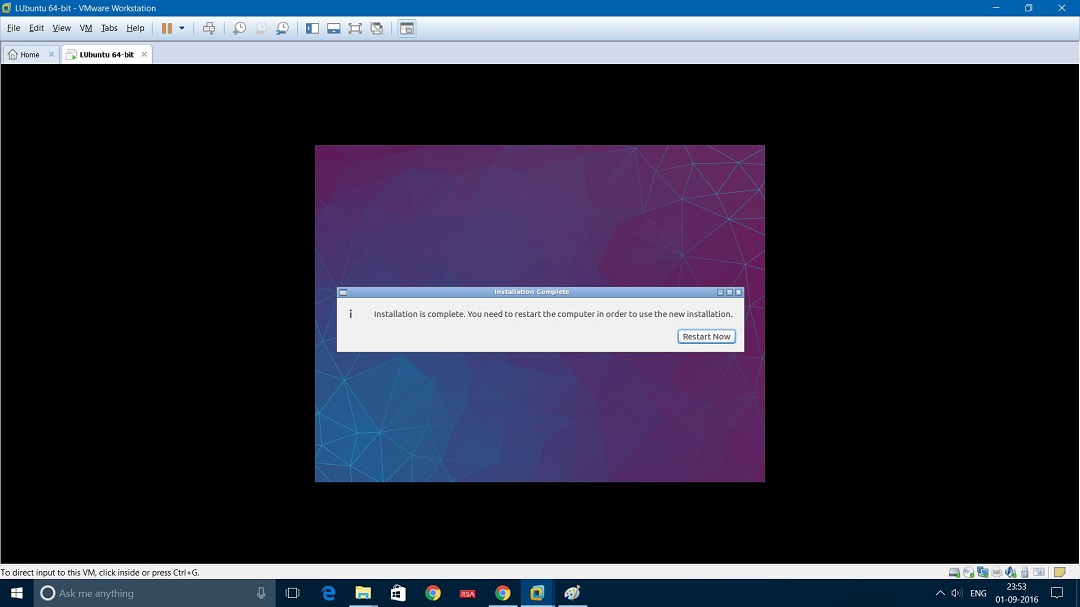 VMware Workstation installing Lubuntu - Restart required screenshot