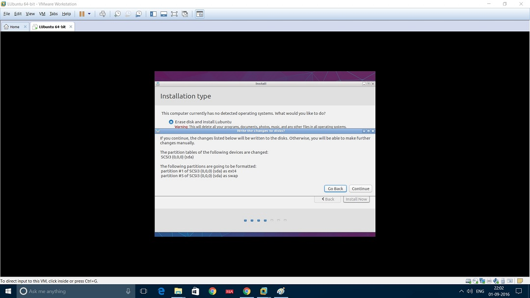 VMware Workstation Installing Lubuntu - Write changes to disk screenshot