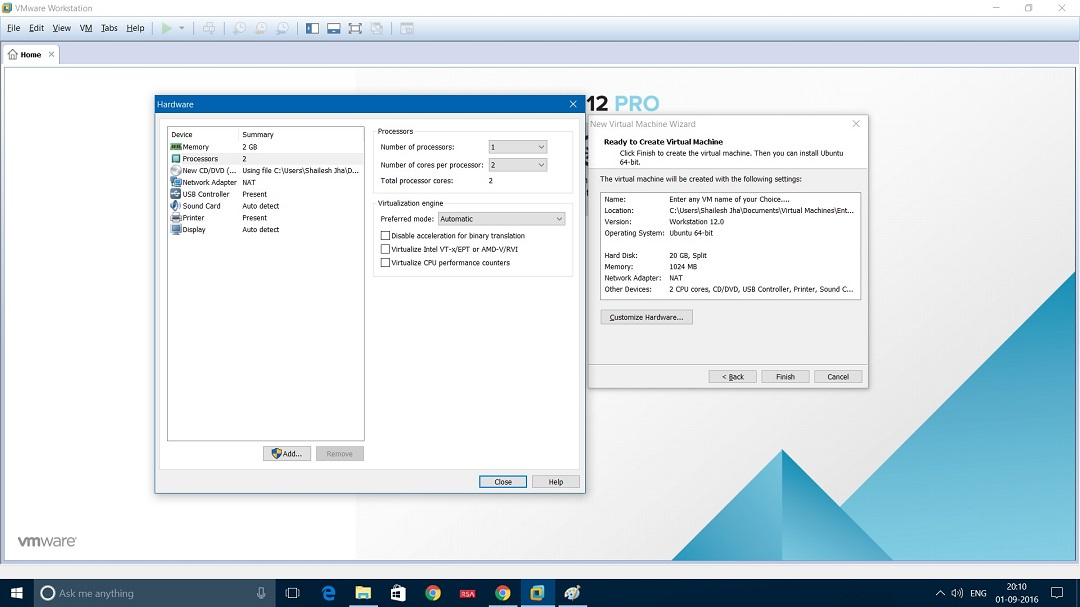 VMware Workstation ready to create virtual machine hardware settings dialog box screenshot.