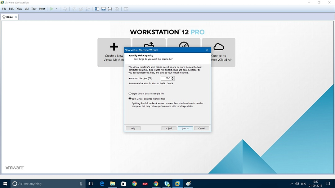 VMware Workstation specify disk capacity dialog box Screenshot
