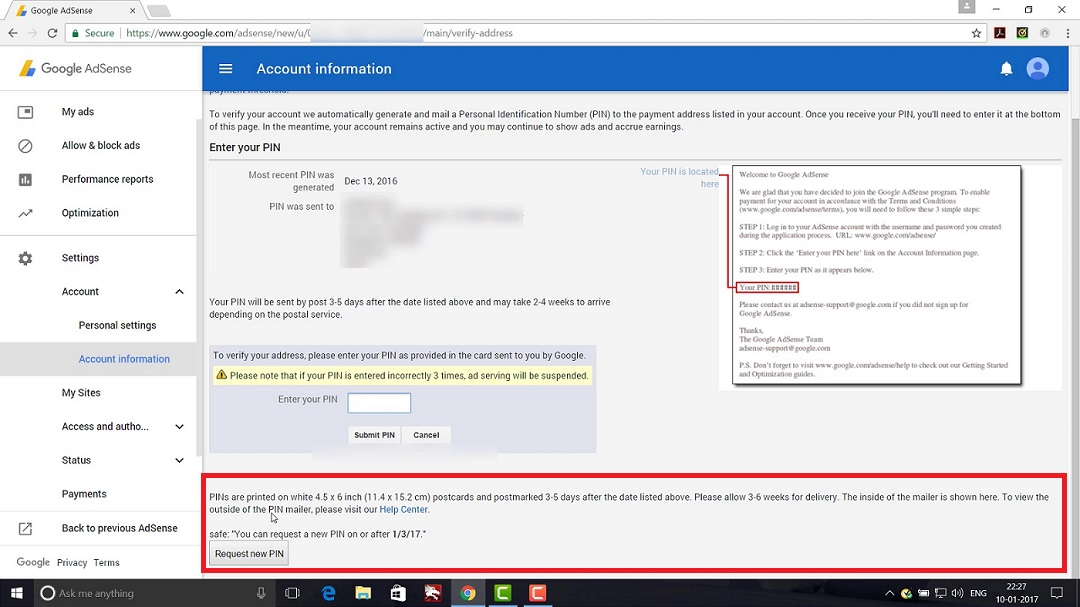 Goolge Adsense Address Verification Page Request New PIN Screenshot