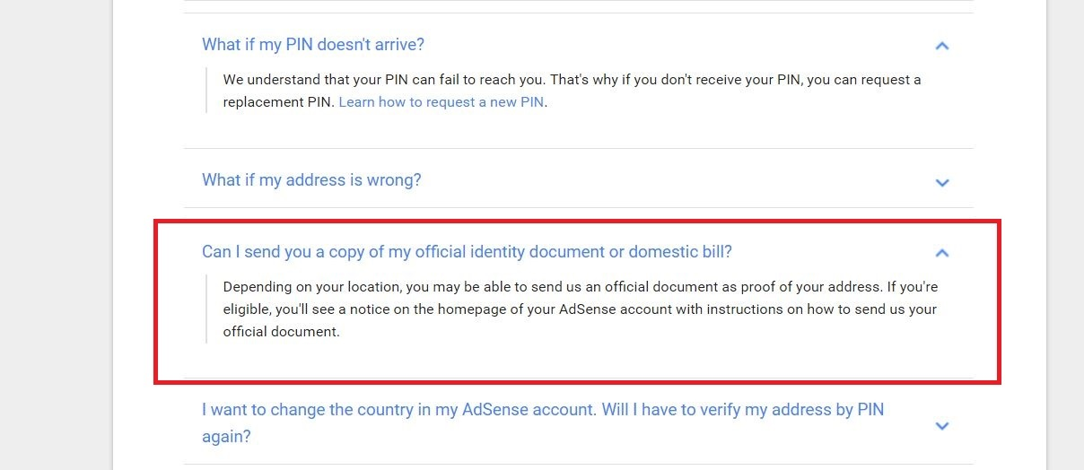 Google Adsense PIN verification documentation screenshot