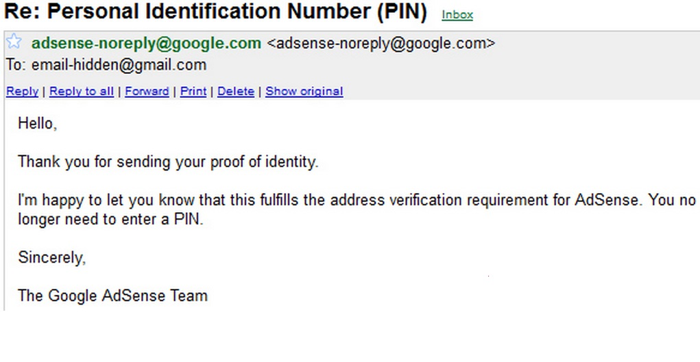 Google Adsense address verification without PIN conformation mail screenshot