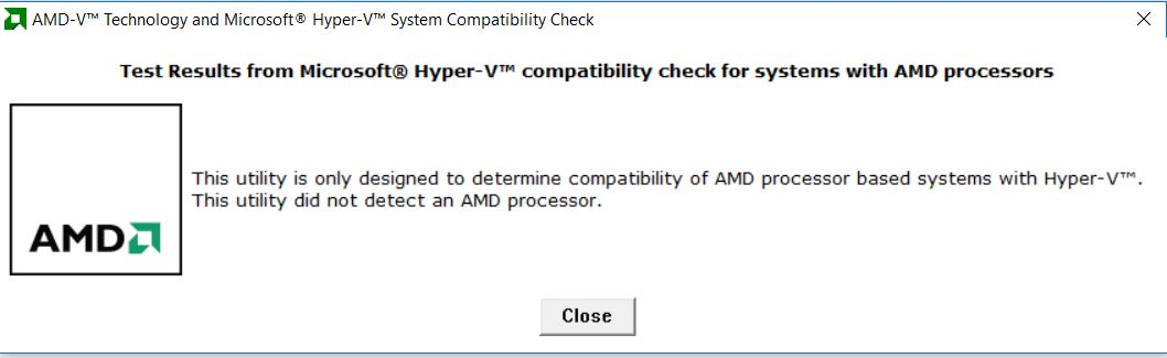 AMD Hyper -V compatibility check screenshot
