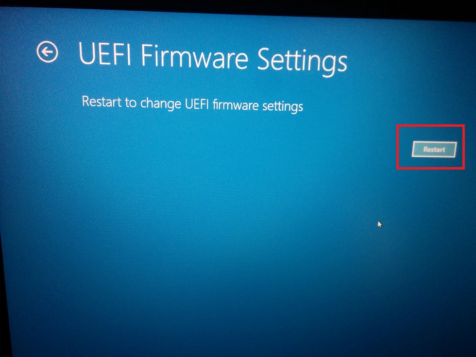 UEFI boot Troubleshoot - Advanced Option- UEFI Firmware Settings - Restart Confirmation screenshot
