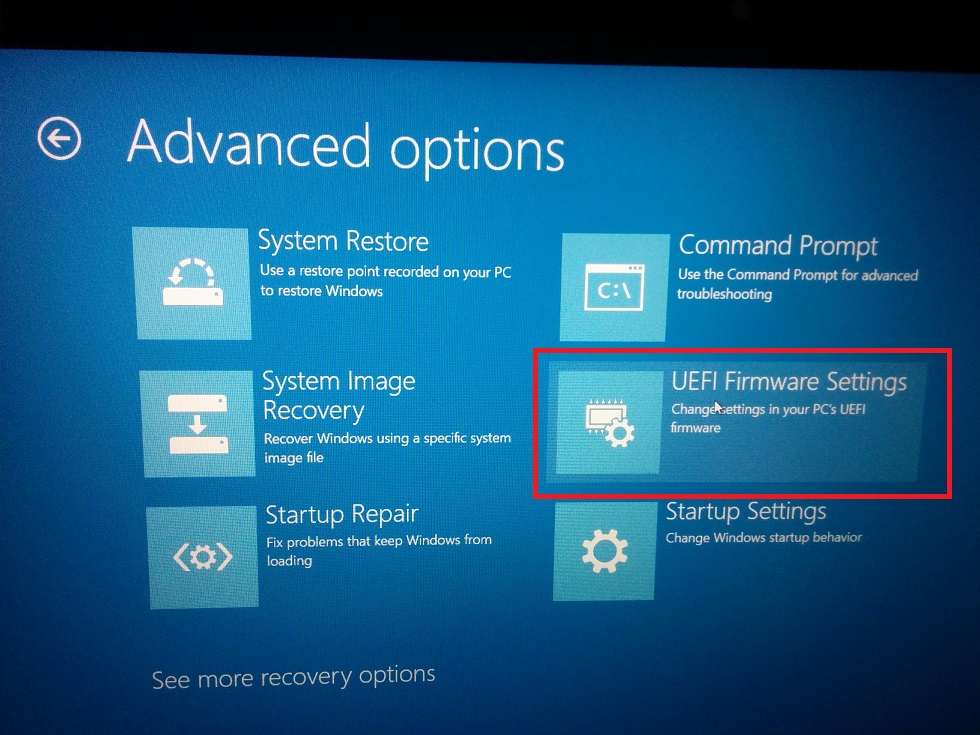 UEFI boot Troubleshoot - Advanced Option- UEFI Firmware Settings screenshot