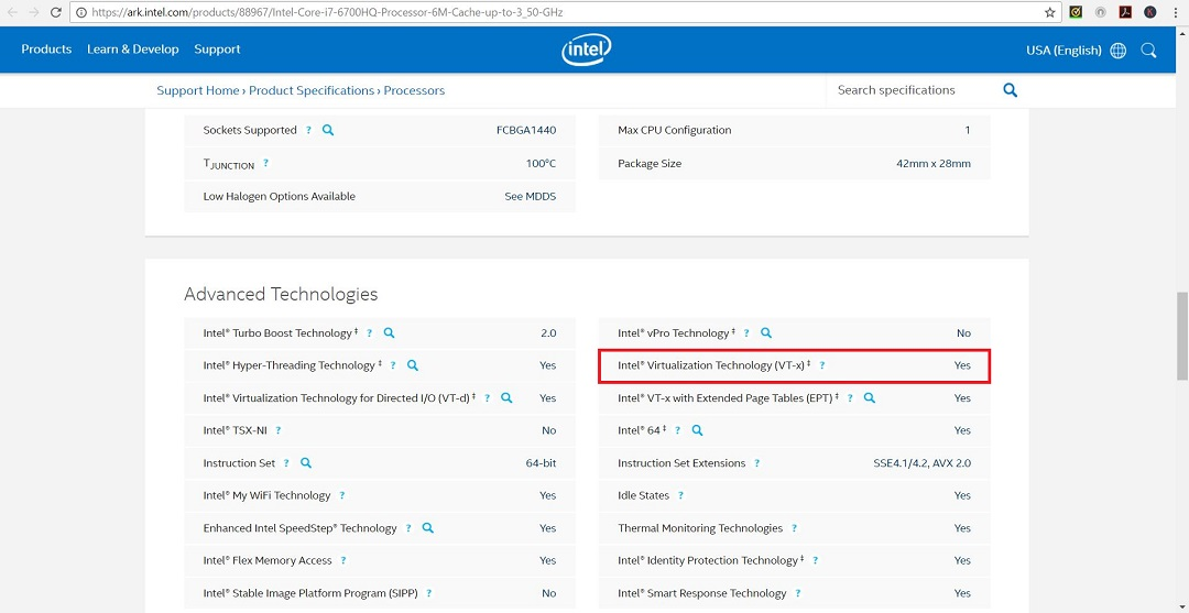 Intel 6800 HQ processor specification webpage screenshot
