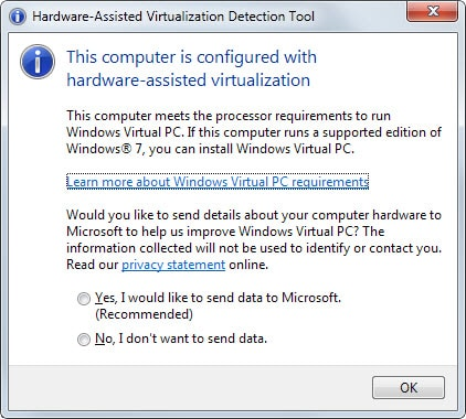 Microsoft hardware assisted virtualization detection tool screenshot