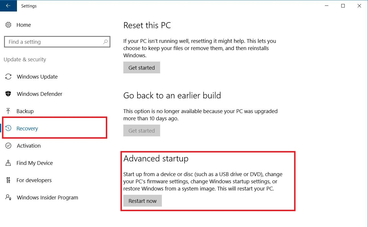 Windows 10 Settings - Update and Security- dialog box screenshot