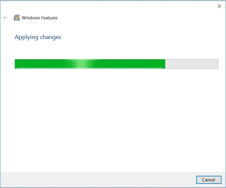 Windows 10 Add Features- Applying changes dialog box screenshot