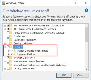 Windows 10 - Turn Windows feature on or off screenshot