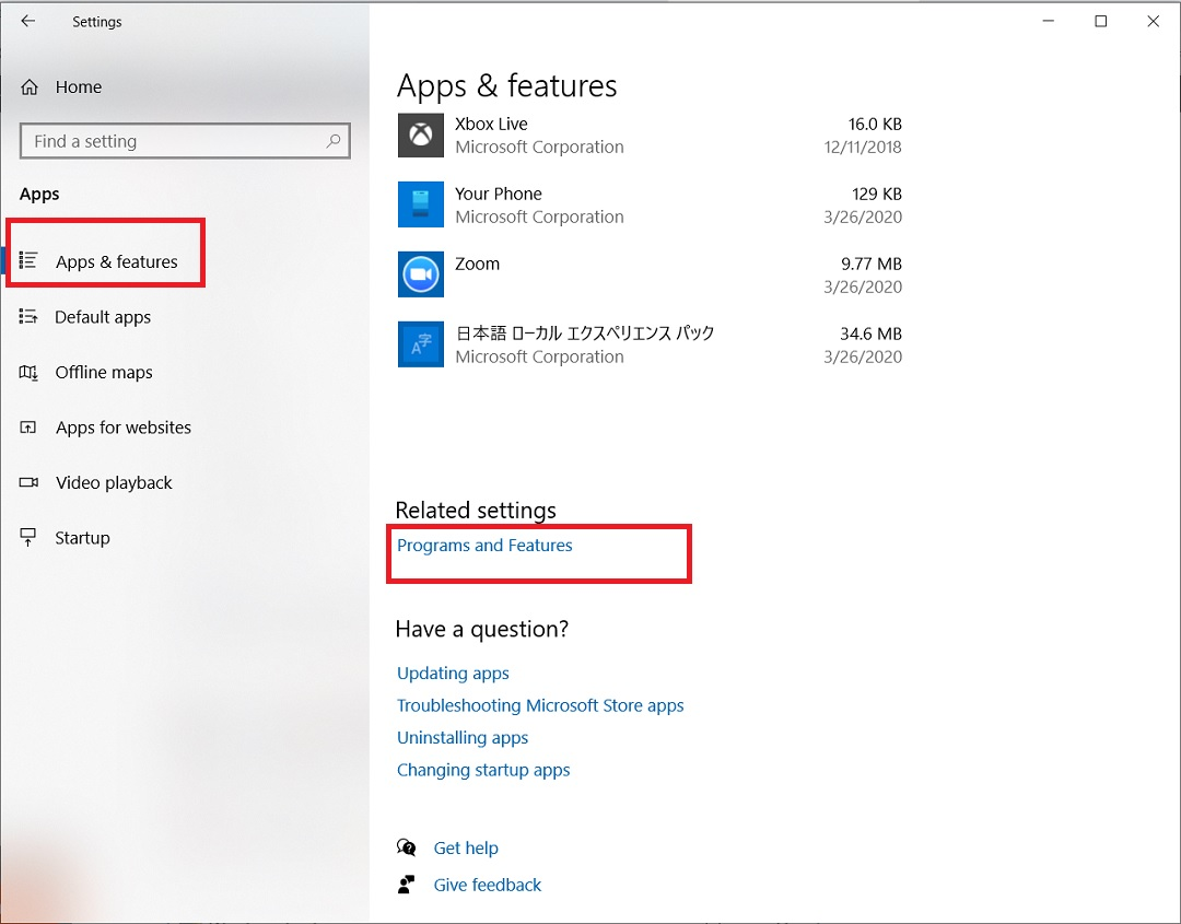 Windows 10 - Apps and Feature