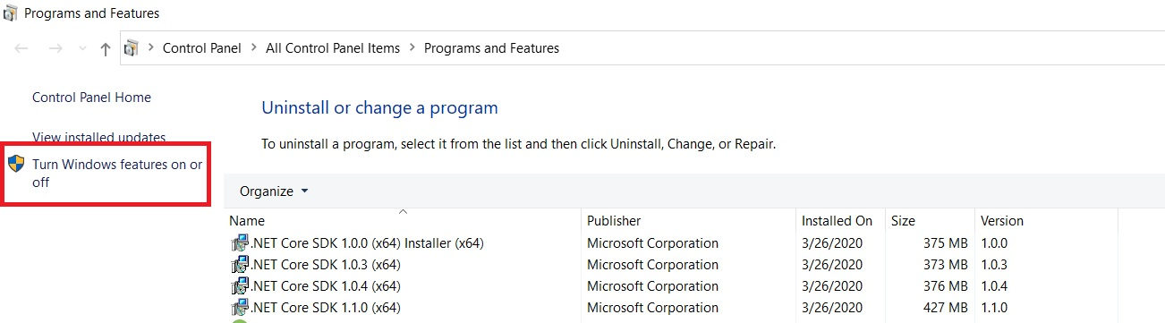 Windows 10 - Program and Features