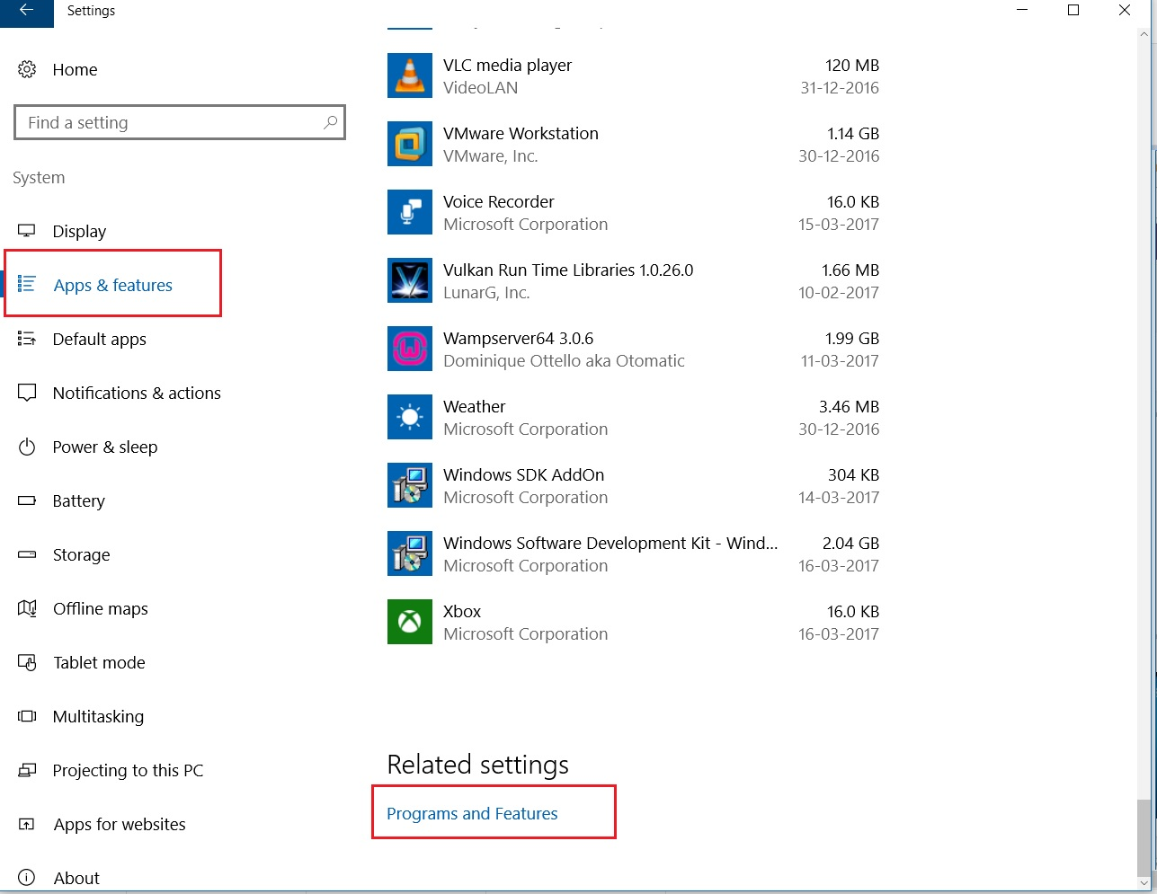 Windows 10 settings apps and features dialogbox screenshot