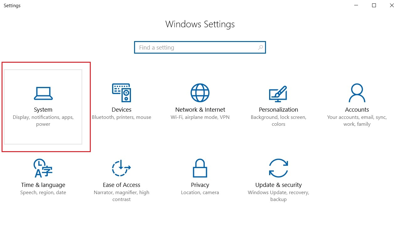 Windows 10 settings dialog box screenshot