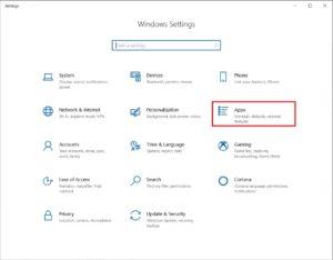 Windows 10 settings dialog box