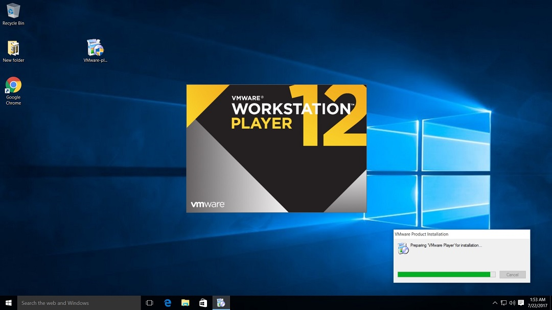 VMware Workstation Player 12 Installation begins screenshot