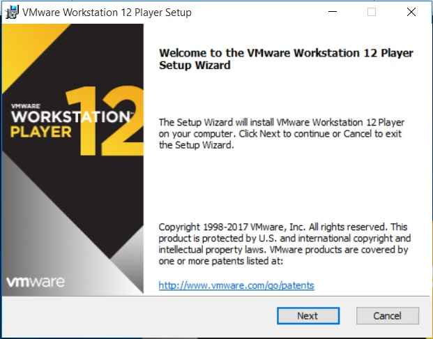 VMware Workstation Player  12 Installation - Setup Wizard dialog box screenshot
