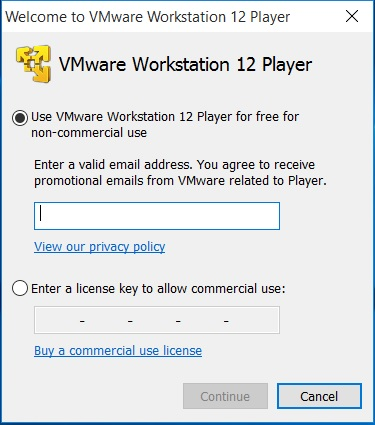 VMware_VMware Workstation Player registration - Enter Email address