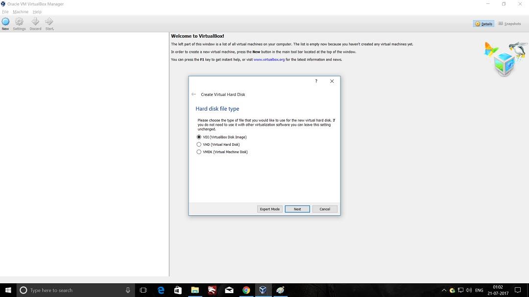 VirtualBox - Create Virtual machine - Hard Disk file type