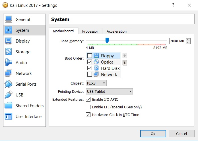 VirtualBox settings system motherboard tab screenshot