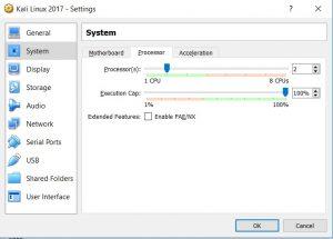 VirtualBox settings system processor tab screenshot