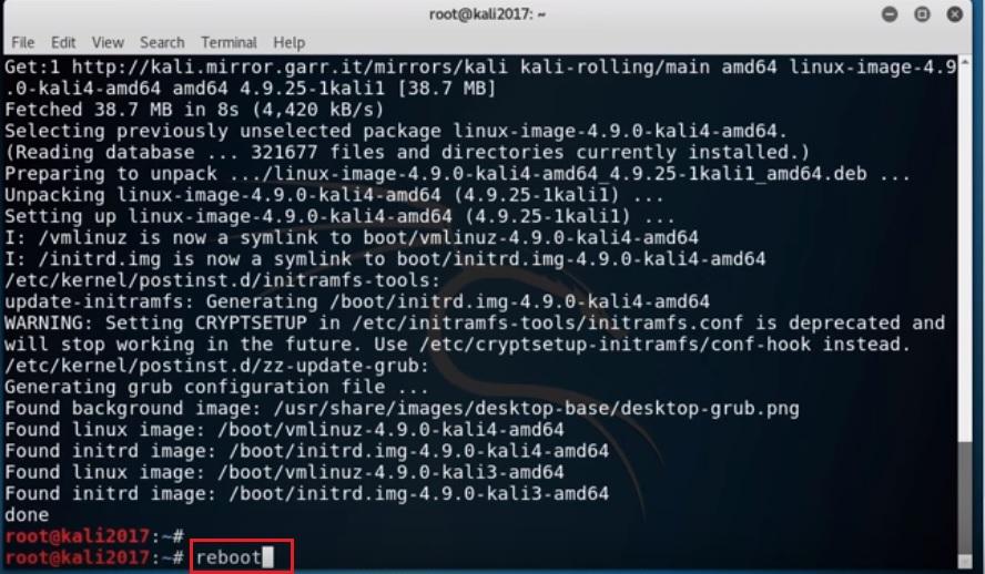 Kali Linux terminal - Reboot command screenshot