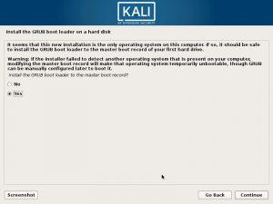 Install Kali Linux 2017 in VMware Workstation 12- Install GRUB Boot Loader Screenshot
