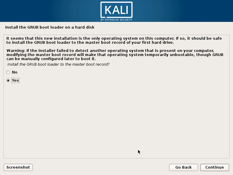 Install Kali Linux 2018 in VMware Workstation 14- Install GRUB Boot Loader Screenshot