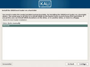 Install Kali Linux 2017 in VMware Workstation 12- Select GRUB Boot Loader Device Screenshot