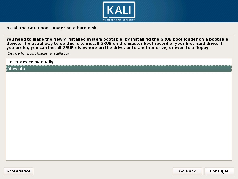 Install Kali Linux 2019 - Select GRUB Boot Loader Device Screenshot