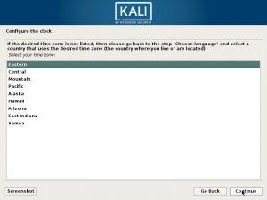 Install Kali Linux - Configure Clock Screenshot