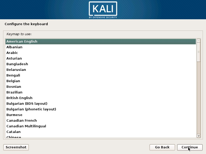 Install Kali Linux 2019 - Configure keyboard Screenshot