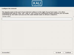 Install Kali Linux - Configure the Network- Enter Domain Name Screenshot