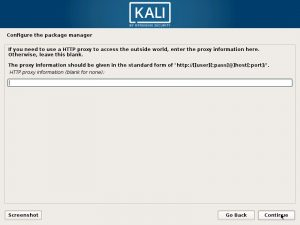 Install Kali Linux 2017 in VMware Workstation 12- Configure the Package Manager - HTTP proxy Screenshot