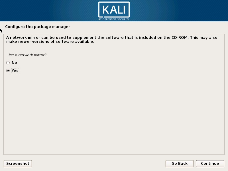 Install Kali Linux 2019 - Configure the Package Manager Screenshot