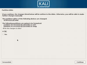 Install Kali Linux 2017 in VMware Workstation 12- Disk Partition Confirmation Screenshot