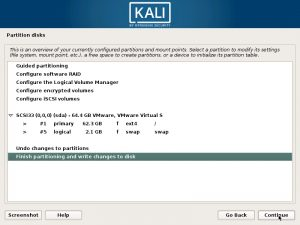 Install Kali Linux 2017 in VMware Workstation 12- Disk Partition Overview Screenshot