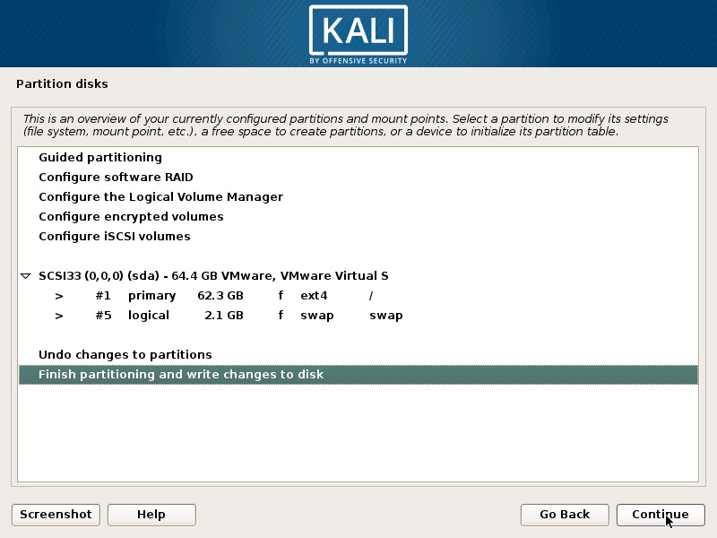 Install Kali Linux 2018 in VMware Workstation 14- Disk Partition Overview Screenshot