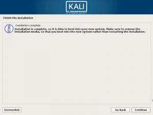 Install Kali Linux 2017 in VMware Workstation 12- Installation Complete Screenshot