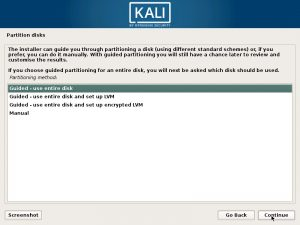 Install Kali Linux 2017 in VMware Workstation 12- Partition Disk Screenshot
