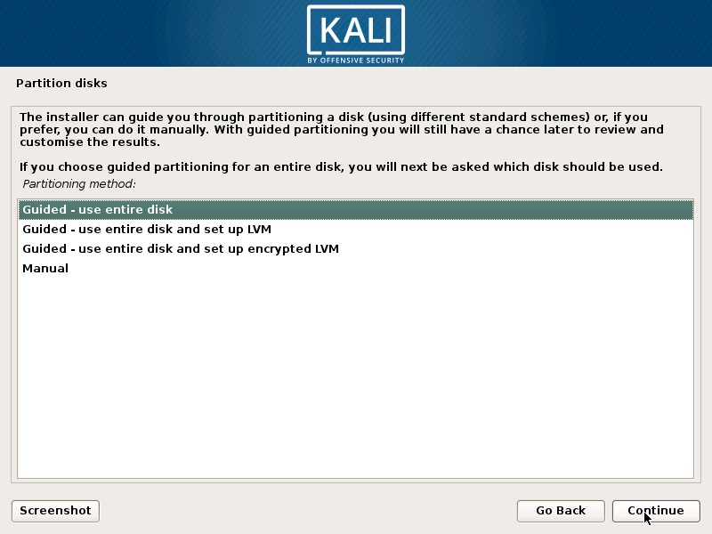 Install Kali Linux 2019 - Partition Disk Screenshot