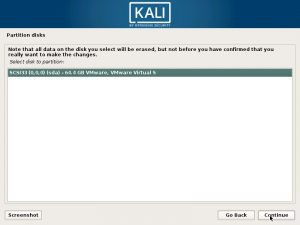 Install Kali Linux 2017 in VMware Workstation 12- Select Disk to Partition Screenshot