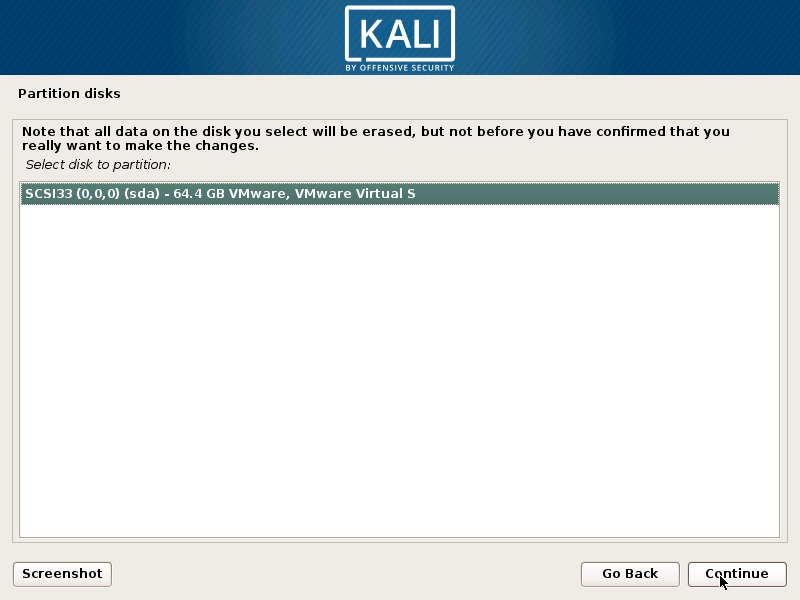 Install Kali Linux 2019 - Select Disk to Partition Screenshot