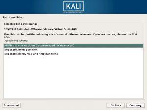 Install Kali Linux 2017 in VMware Workstation 12- Disk Partitioning Scheme Screenshot