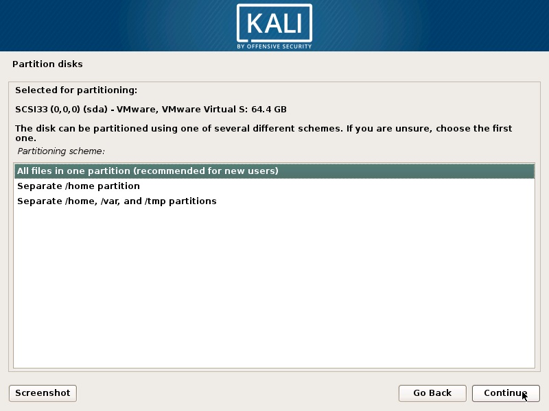 Install Kali Linux 2018 in VMware Workstation 14- Disk Partitioning Scheme Screenshot
