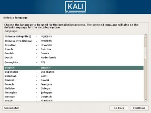 Install Kali Linux 2018 in VMware Workstation 14- Select a Language Screenshot